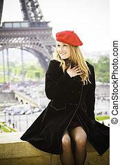 eiffel, hembra, modelo, sombrero, torre, rojo