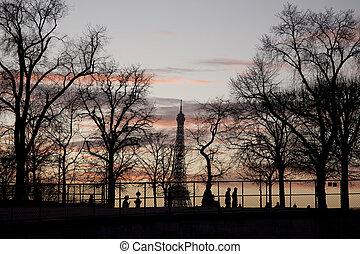 eiffel, inverno, paris, árvores, frança, torre