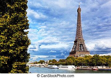 eiffel, jábega, parís, francia, río, torre