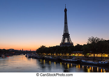eiffel, jábega, parís, francia, torre, río, amanecer, antes