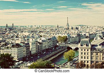 eiffel, panorama, parijs, ouderwetse , zegen, france., river...