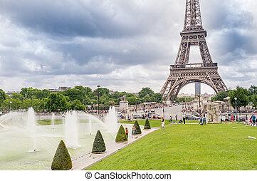 eiffel, parigi, strabiliante, torre, giardini trocadero, france., vista