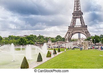 eiffel, paris, espantoso, torre, trocadero ajardina, france., vista