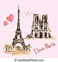 eiffel, paris, notre, de, hand, aquarell, drawing., france., kathedrale, turm, dame