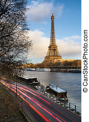 eiffel,  paris,  seine, rivière, Coucher soleil, tour, avant