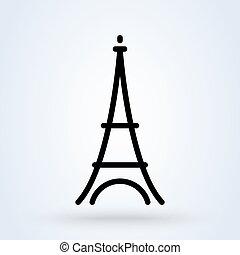 Eiffel Paris Tower. Simple vector modern icon design illustration.