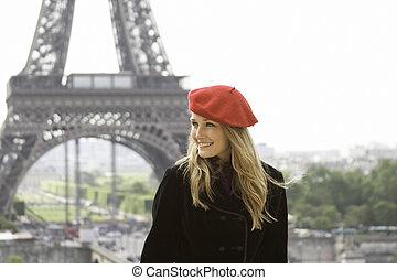 eiffel, plano de fondo, modelo, sombrero, torre, rojo
