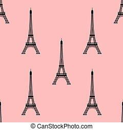 eiffel, seamless, párizs, háttér., france., bástya