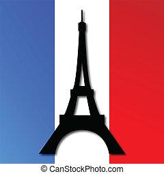 eiffel torn, på, a, franska flagga