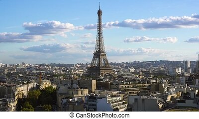 eiffel tour and Paris cityscape - famous Eiffel Tower and...