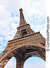 Eiffel Tour or Tower landmark. Wide angle view. Paris, France