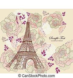 Eiffel tour - Vector card with eiffel tour