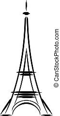 Eiffel tower abstract. Sketch. Vector illustration
