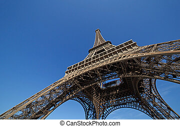 Eiffel tower against blue sky