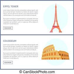 Eiffel Tower and Colosseum Vector Illustration - Eiffel ...