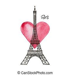 Eiffel tower and heart. Paris Vector