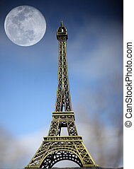 Eiffel Tower and Moon