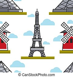 French architecture Eiffel tower and Moulin Rouge seamless pattern vector building and constructions landmarks cabaret and sightseeing endless texture traveling and tourism wallpaper print