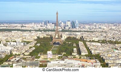 Eiffel Tower and Paris cityscape - view Eiffel Tower...