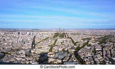 Eiffel Tower and Paris cityscape - view of Eiffel Tower and...