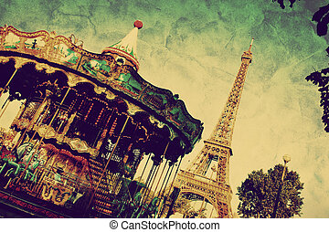 Eiffel Tower and vintage carousel, Paris, France. Retro...