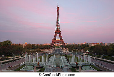 Eiffel Tower at dusk - Composite shot of eiffel tower at ...