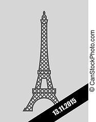Eiffel Tower black Mourning Ribbon. November 13, 2015. Grief for dead and act of terrorism in France.