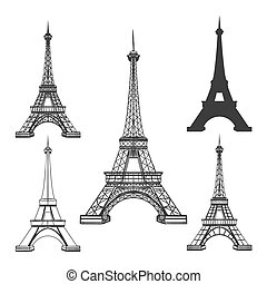 Eiffel tower black silhouettes - Eiffel tower icons isolated...