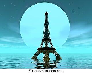 Eiffel tower by moonlight - 3D render