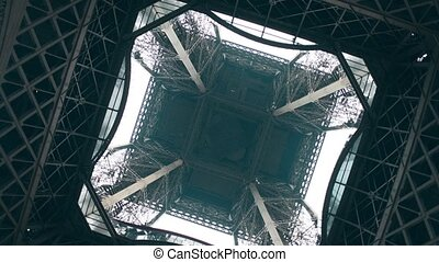 Eiffel tower, center view from below. Symmetry or engineering concepts. 4K rotating shot