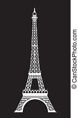 eiffel tower - white eiffel tower over black background....