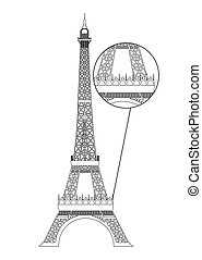 eiffel tower - black eiffel tower isolated over white...