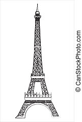 eiffel tower isolated over white background. vector...