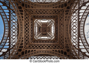 Eiffel tower directly from below the center