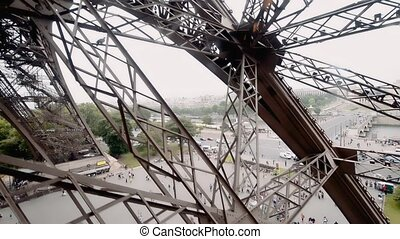 Eiffel Tower elevator, view of Paris from a high viewpoint, France