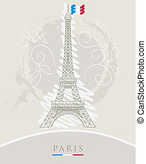 Eiffel tower  - Vector illustration of Eiffel tower
