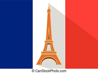 Eiffel Tower flat vector long shadow
