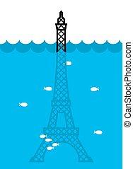 Eiffel Tower Flood. deluge in Paris. Plenty of water and...