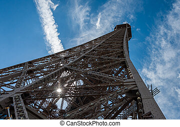 Eiffel tower from below on a sunny day