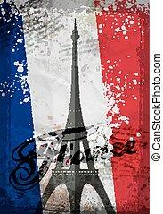 Eiffel Tower. Hand drawn vector illustration. brushstroke...