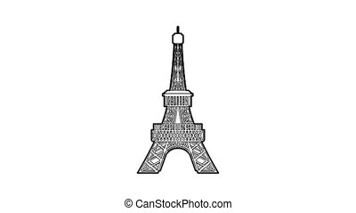 Eiffel tower icon animation best outline object on white background