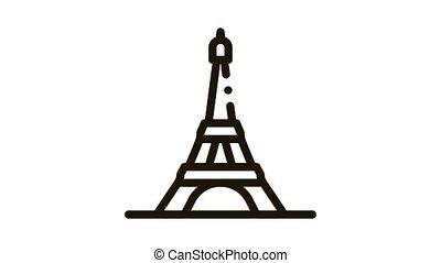 eiffel tower Icon Animation. black eiffel tower animated icon on white background