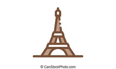eiffel tower Icon Animation. color eiffel tower animated icon on white background