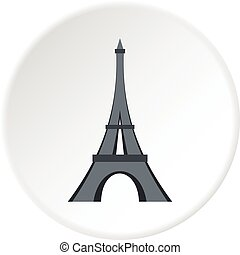 Eiffel tower icon circle - Eiffel tower icon in flat circle...