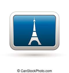 Eiffel tower icon on blue button