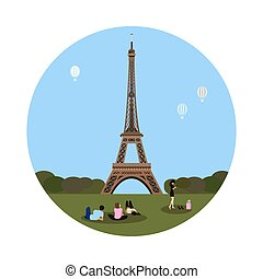 Eiffel tower icon. Paris sign