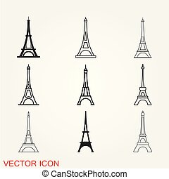 Eiffel tower icon vector, isolated on background