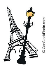 Eiffel Tower with Street Light