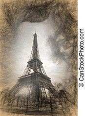 Eiffel Tower in Artwork style in Paris, France