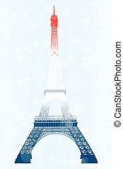 Eiffel tower in blue-white-red
